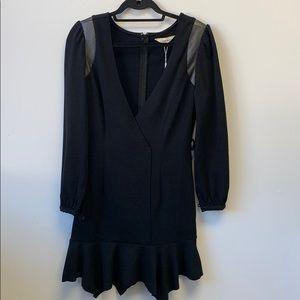 Wool Long sleeve black dress